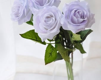 1 Stems Real Touch Rose Light Lilac Rose Artificial Single Spray Silk Rose