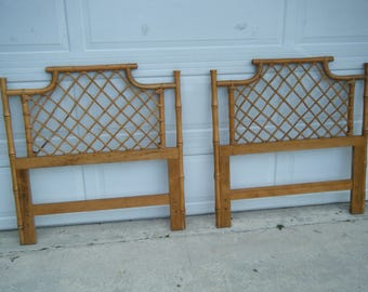 Vintage Pair Of Ming Pagoda Twin Headboards Natural Tone