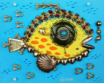 Yellow Fish Shadow Box. 8x10
