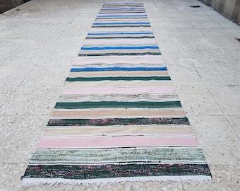 Attractive Cotton Floor Runner, Hallway Runner Rug, Hall Runner, Kilim Corridore,  Striped Long