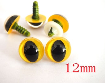 Animal eyes,yellow color,dolls,12mm Plastic toy safety cat eyes with washers,cat eyes-20pairs