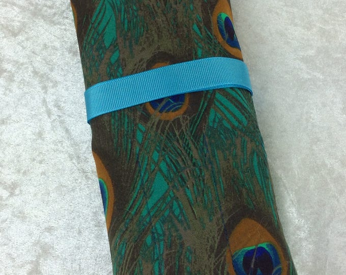 Peacock Feathers Makeup Pen Pencil Roll Crochet Knitting needles tool holder case  Handmade in England