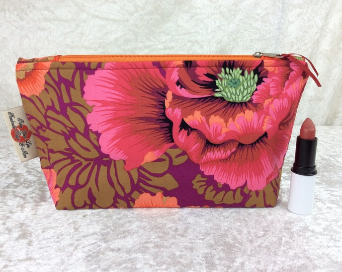 Peony Brocade Zip Case Bag Pouch Kaffe Fassett Philip Jacobs fabric Handmade in England