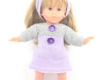 Doll clothes - set purple trapeze dress, booties and headband