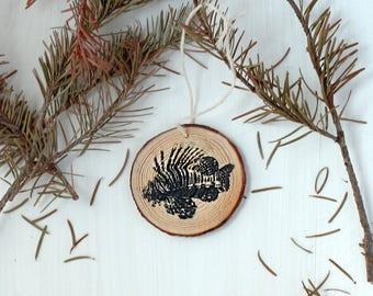 Lionfish Ornament, Fish Ornament, Ocean Ornament, Wood Ornament, Christmas Gift