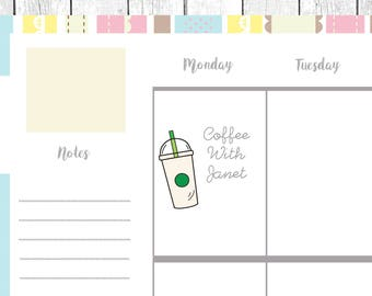 printable planner stickers Coffee takeout cups star