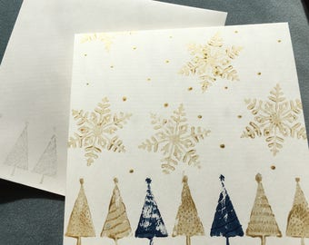 Gold and Blue Christmas Trees and Snowflakes Hand Stamped Card