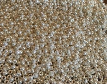 Miyuki Seed Beads -  8/o - Antique Ivory Pearl Ceylon - Japanese Glass - 8-592, 23 Grams