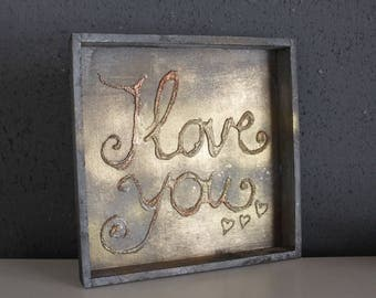 Wooden tray, gray, silver / gold lettering, 3D