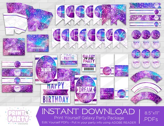 Printable Galaxy Birthday Party Decorations Teen Galaxy
