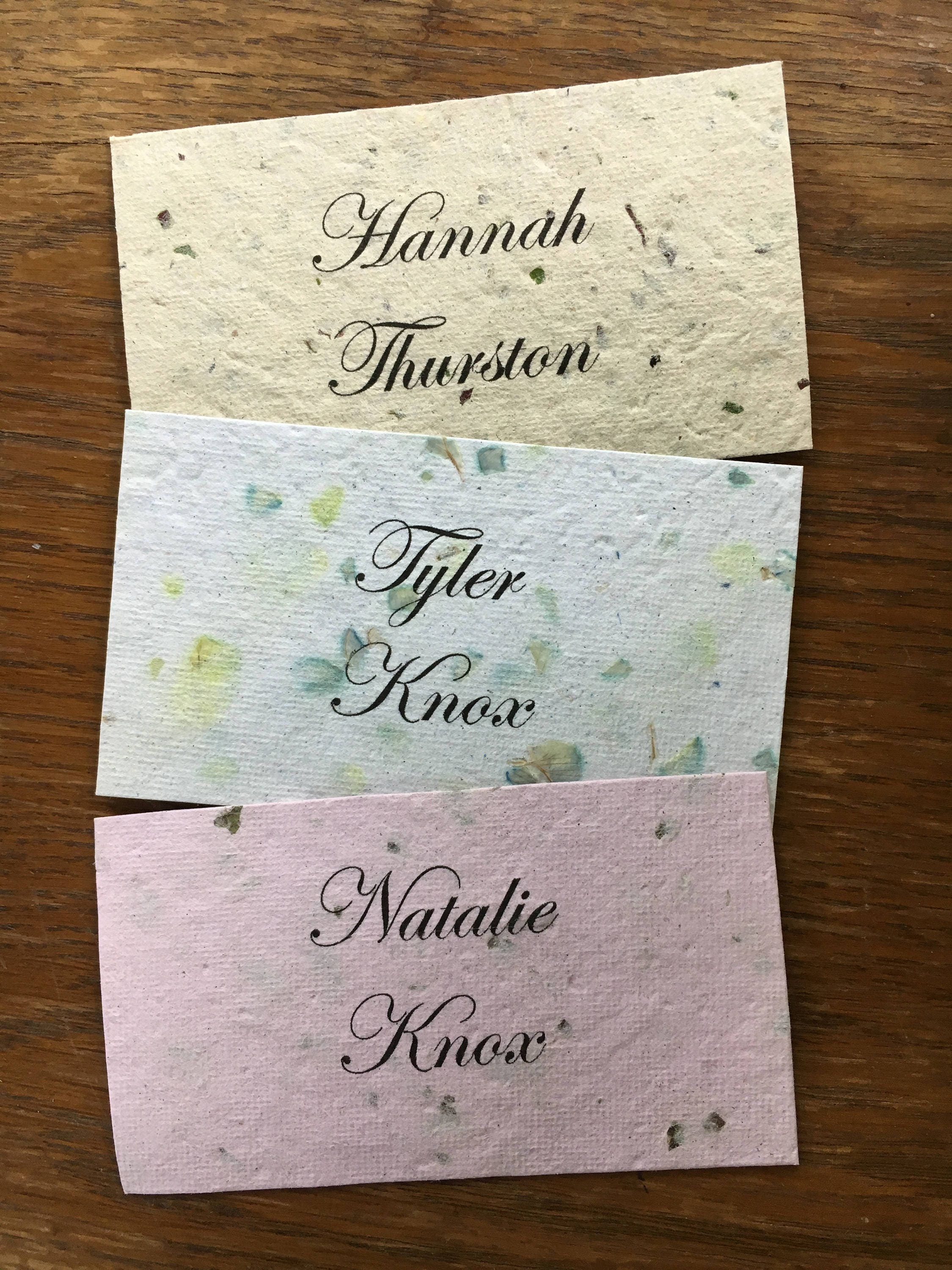 Eco Friendly Wedding Placecards 100 pcs/ Handmade Recycled Assorted ...