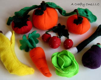 Play food Fruit & Vegetables, Educational Play, Fleece Carrot, Banana, Strawberries, Pumpkins, Toy Food,Pretend Play, Stocking Stuffer Child