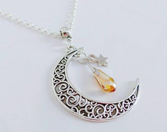 Necklace Moon filigree and Swarovski Golden crystal drop