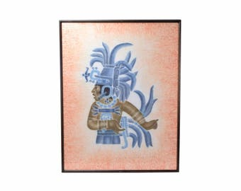 1978 Dale Nichols Mayan Priest or Warrior Rubbing Oil Painting on Linen