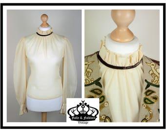60s / 70s Cream/Off-White Gauzy Cotton Poet Sleeve Ruffle Blouse, Steampunk, Gothic, Edwardian, Lolita, Romantic, Size M