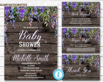 RUSTIC Baby Shower Invitation, Flower Baby Shower Invitation, Baby Shower Template, Country Baby Shower, Rustic Floral Baby, You Edit, DIY