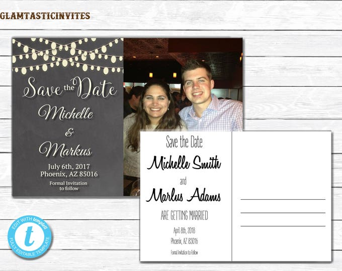Chalkboard Save-the-Date, Chalkboard Save the Date, Save the Date Postcard, Save the Date, Rustic Save the Date, You EDIT, TEMPLATE, DIY