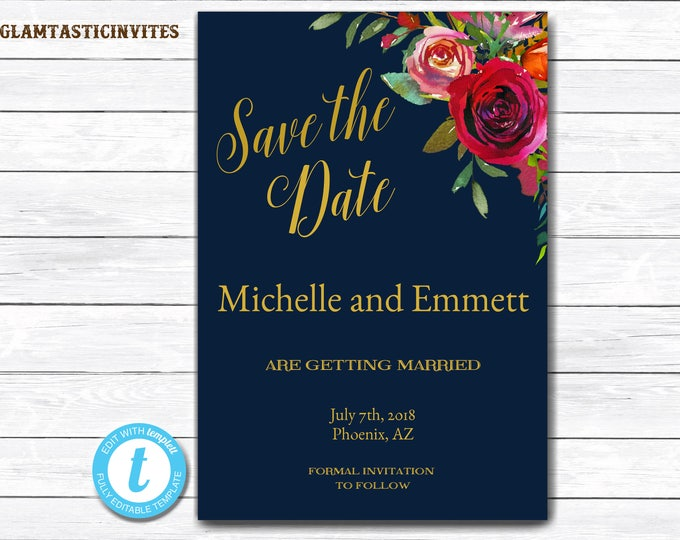Save the Date Postcard, Save-the-Date, Blue Floral Save the Date, Navy Save the Date, Save the Date Card, Floral Save the Date, Wedding