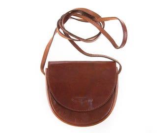 Belsac Classic 80's Small Brown Leather Shoulder Bag, Crossbody Bag