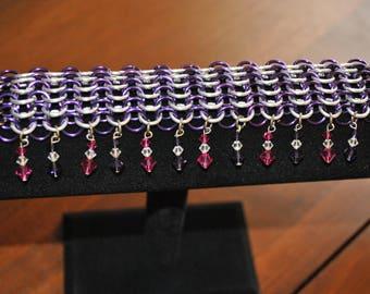 purple and silver jewel bracelet