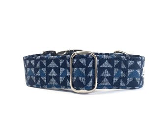 Christmas sweater dog collar. Navy blue and grey winter dog collar or martingale collar. Christmas sweater collar, sweater martingale collar