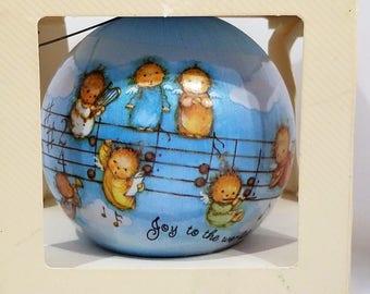 1982 Mary Hamilton Hallmark Keepsake Ornament, Unbreakable Satin Ornament, Angels, Musical Notes, Joy To The World