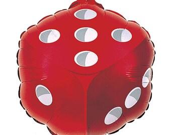 """Dice balloon 18"""". Craps balloon. yahtzee balloon. casino party balloons. poker party decor. casino party. casino party decor. dice balloon."""