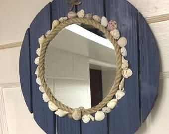 Blue nautical pallet mirror