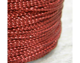 80 meters Red Metallic Braided Rayon Cord Craft Thread Twine, 0.8mm thick, Christmas Ornaments Macrame Dreamcatcher Webbing