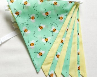 Green and Yellow Bumble Bee Bunting for Nursery, Playroom Bunting, Nursery Bunting, Gender Neutral  - Made to Order