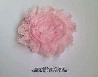 "Shabby Flower 2.5"" | Pink | Hair Clips for Girls | Toddler Barrette | Kids Hair Accessories | Pink Grosgrain Ribbon | No Slip Grip"