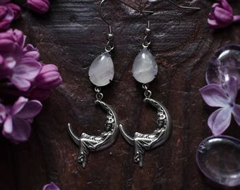 Rose quartz earrings, rose quartz jewelry, moon goddess earrings, fairy, fantasy, dangling earrings, silver earrings, goddess jewelry