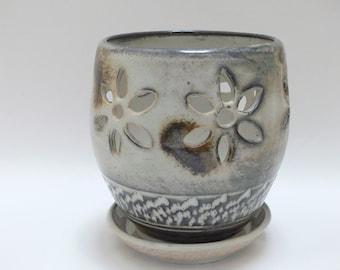White orchid pot - ceramic orchid pot - porcelain orchid pot - orchid pot - SierraAvisPottery