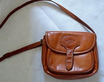 Vintage 70s Tan LEATHER Shoulder Purse Bag