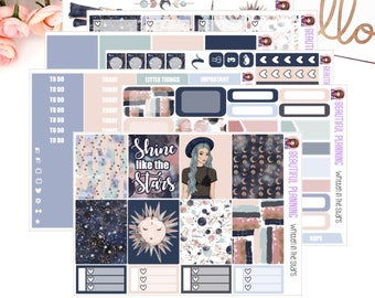 Written in the stars Vertical Weekly Kit - Planner Stickers, for use in ERIN CONDREN LIFEPLANNER ™, Happy Planner, Vertical Inserts.
