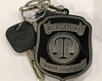 Purgatory Sheriff Department Badge Keychain