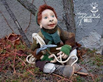 Handmade Doll- Alek -50cm (OO 27'17) - textile doll- fabric doll- rag doll- home decoration- handmade toy-cloth dolls-fabric dolls