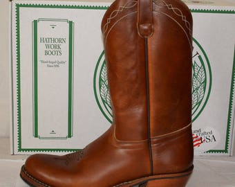 """White's 329W Hathorn Western Cowboy Pull-On 12"""" Brown Leather Boots UK8 Rancher"""