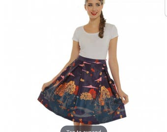 FREE SHIP Vintage style 60's circle skirt full skirt with fall trees Halloween witch pin up Lindy Bop plus size 12 14 autumn spooky skirt