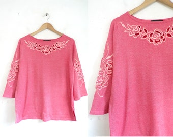 90s Pink Glitter Top Embroidered Laser Cut Out Floral Top 1990s Bob Mackie Shirt knit Cotton Flower Top 3/4 Sleeve Womens Shirt Medium/Large