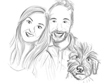 Couple and Pet Personalised Portrait! Hand Drawn Digital Illustration - BLACK AND WHITE