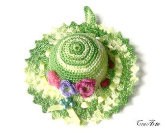 Green Crochet Pincushion, Handmade Pincushion, Sewing accessories, Puntaspilli verde