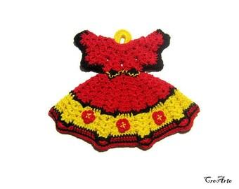 Red and Yellow crochet dress potholder, presina vestitino rossa e gialla all'uncinetto