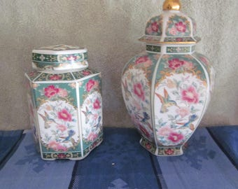 Japanese Otagiri  Ginger Jars Hand Painted Details Hummingbird & Flowers Color gold Accents 2 Styles Same Pattern Vtg Markings