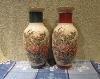 Japanese  Royal  Satsuma 2 Vases Floral designs Pattern  2 different trims RED/GREEN with Gold Accents with markings