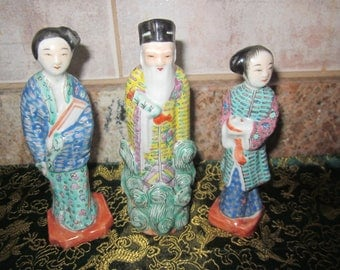 Chinese Rare  Figurines  Hand Painted Details Vtg  Marking  Bottom of each statues Mfg China