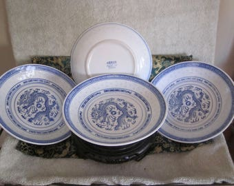 "Chinese Dragon Rice Grain Round Large Serving Dinning Bowls Blue  White Hand Painted  Rare Set Of 4  Very Nice  8 1/4 "" Dia   1 1/2 "" Tall"