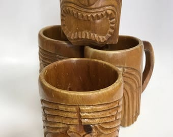 4 Vintage Wooden Tiki Mugs from ROSA'S