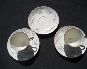 3 Furstenberg China saucers and 2 Tea cups-Germany-01695