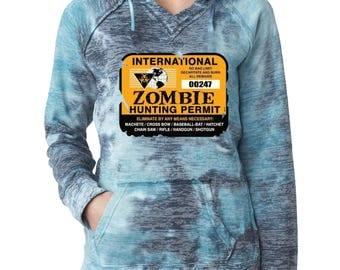 Burnout Hoodies International Zombie Hunting permit Burnout Hoodies Funny Halloween Sweatshirt